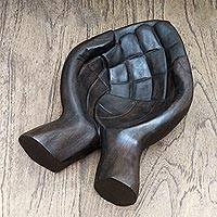 Wood statuette, 'Give Back'
