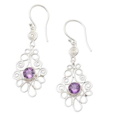 Amethyst and Sterling Silver Dangle Earrings