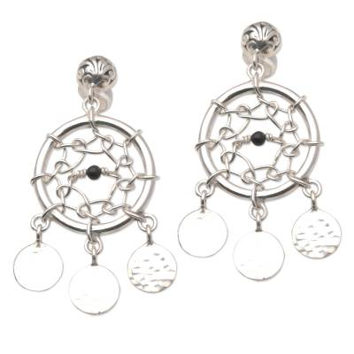 Sterling Silver and Onyx Dreamcatcher Earrings
