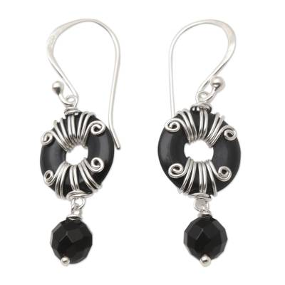 Hand Crafted Sterling Silver and Onyx Dangle Earrings
