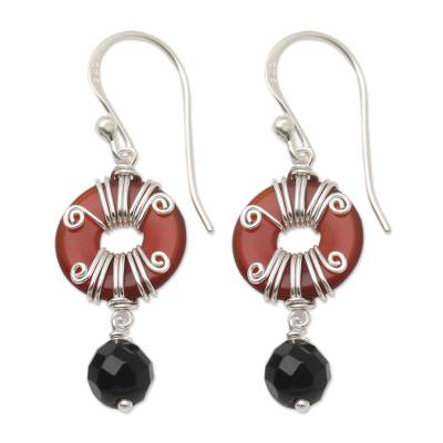 Handmade Carnelian and Onyx Dangle Earrings