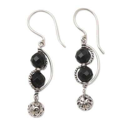 Sterling Silver and Black Onyx Dangle Earrings