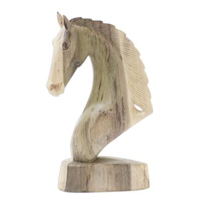 Handmade Hibiscus Wood Horse Head Statuette