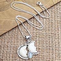 Citrine and rainbow moonstone pendant necklace, 'Light by Night' - Hand Made Citrine and Rainbow Moonstone Pendant Necklace