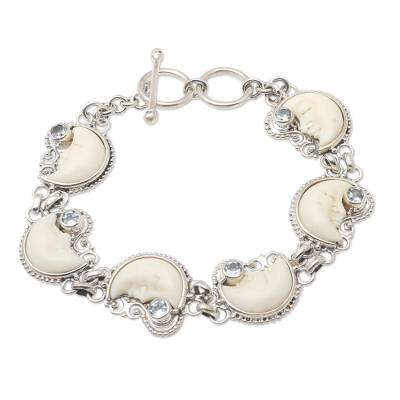 Blue topaz link bracelet, 'Moon Over Ocean' - Sterling Silver and Blue Topaz Crescent Moon Link Bracelet