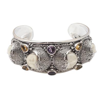 Amethyst and citrine cuff bracelet, 'Rainbow Moon' - Hand Crafted Amethyst and Citrine Cuff Bracelet