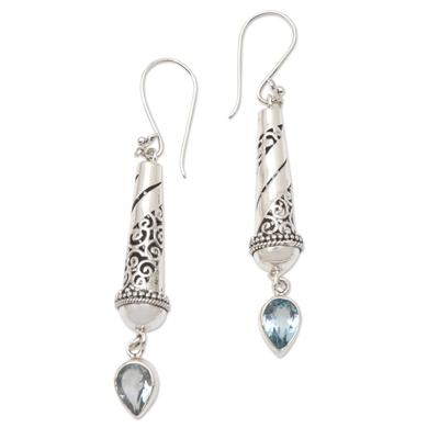 Blue topaz dangle earrings, 'Blue Lantern' - Handmade Sterling Silver and Blue Topaz Dangle Earrings
