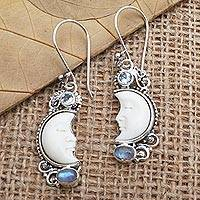 Blue topaz and rainbow moonstone dangle earrings, 'Blue Light' - Hand Crafted Blue Topaz and Rainbow Moonstone Earrings