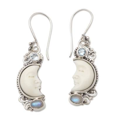 Hand Crafted Blue Topaz and Rainbow Moonstone Earrings