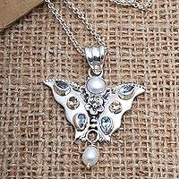 Multi-gemstone pendant necklace, 'Butterfly Park' - Cultured Pearl and Citrine Butterfly Pendant Necklace