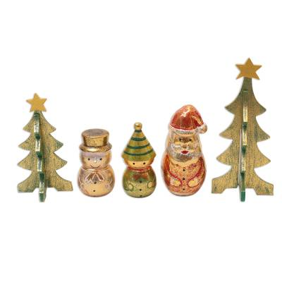 Distressed-Finish Decorative Christmas Accents (Set of 5)