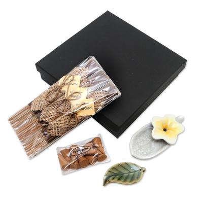 Floral-Themed Ceramic Incense Set