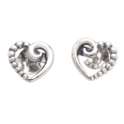 Sterling silver stud earrings, 'Small Heart' - Sterling Silver Heart-Motif Stud Earrings