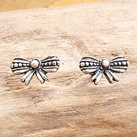 Sterling silver stud earrings, 'Little Bow' - Sterling Silver Bow-Motif Stud Earrings