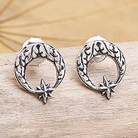 Sterling silver button earrings, 'Balinese Star' - Sterling Silver Crescent Moon Button Earrings