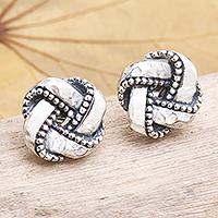 Sterling silver stud earrings, 'Woven Pandanus'