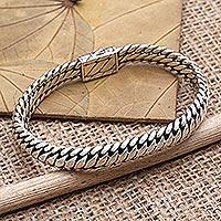 Men's sterling silver chain bracelet, 'Brave Man' - Men's Handmade Sterling Silver Chain Bracelet