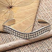 Sterling silver cuff bracelet, 'Easy Peasy' - Hand Crafted Sterling Silver Cuff Bracelet