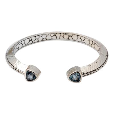 Blue topaz cuff bracelet, 'Blue Mosaic' - Sterling Silver and Blue Topaz Cuff Bracelet