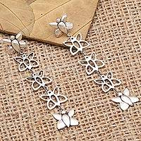 Sterling silver dangle earrings, 'On Butterfly Wings' - Sterling Silver Butterfly Dangle Earrings