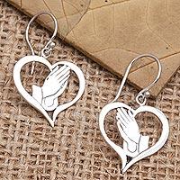 Sterling silver dangle earrings, 'Empire of Love' - Handcrafted Sterling Silver Heart Earrings