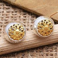Gold-accented stud earrings, 'Golden Growth' - Gold-Accented Floral Stud Earrings