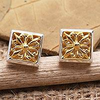 Gold-accented stud earrings, 'Golden Grace' - Gold-Accented Square Stud Earrings