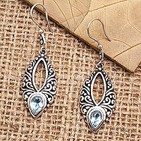 Blue topaz dangle earrings, 'Affectionately Yours' - Blue Topaz and Sterling Silver Dangle Earrings