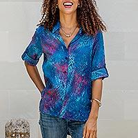 Batik rayon collared shirt, 'Early Dawn' - Hand-Stamped Batik Rayon Collard Shirt