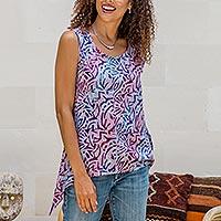 Batik rayon sleeveless blouse, 'Purple Scoop' - Batik Rayon Sleeveless Blouse from Bali