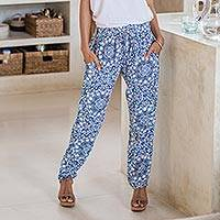 Rayon pants, 'Azure Mandala' - Printed Rayon Mandala Motif Pants