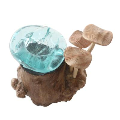 Handmade Wood and Glass Mushroom Sculpture