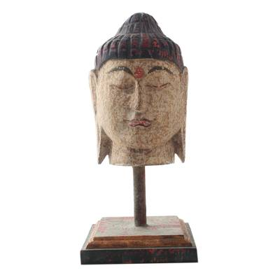 Hand Carved Buddha Head Statuette