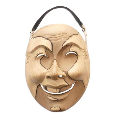 Wood mask, 'Sweet Smile' - Hand Made Hibiscus Wood Mask