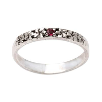 Garnet and Sterling Silver Single Stone Ring