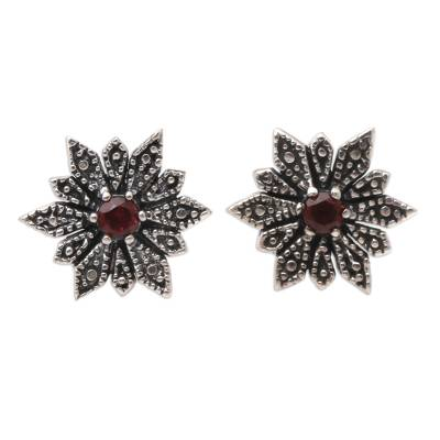 Sterling Silver and Garnet Button Earrings