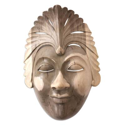 Hand Carved Balinese Hibiscus Wood Mask