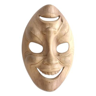 Artisan Made Hibiscus Wood Mask from Bali