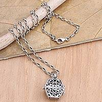 Sterling silver locket necklace, 'Close By' - Hand Crafted Sterling Silver Locket Necklace