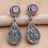 Garnet dangle earrings, 'Mystic Leaves in Red' - Sterling Silver and Garnet Dangle Earrings from Bali
