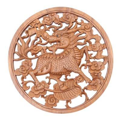 Handcrafted Suar Wood Dragon-Motif Relief Panel