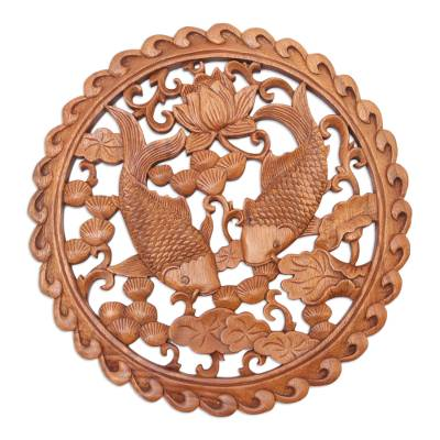 Hand Crafted Suar Wood Fish-Motif Relief Panel
