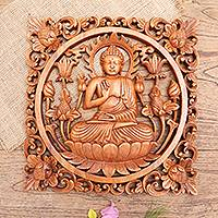 Wood relief panel, 'Dealing in Anxiety' - Hand Made Suar Wood Buddha-Motif Relief Panel