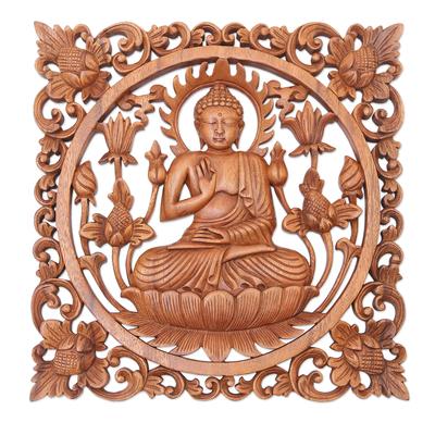 Hand Made Suar Wood Buddha-Motif Relief Panel