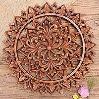 Wood relief panel, 'Flower Farm' - Artisan Crafted Suar Wood Relief Panel