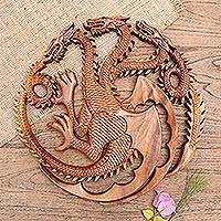 Wood relief panel, 'King Ghidorah' - Handmade Suar Wood Dragon-Motif Relief Panel