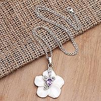 Amethyst pendant necklace, 'Pale Spring' - Amethyst Floral-Motif Pendant Necklace