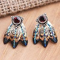 Garnet drop earrings, 'Flying High' - Balinese Garnet and Sterling Silver Drop Earrings