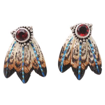 Balinese Garnet and Sterling Silver Drop Earrings