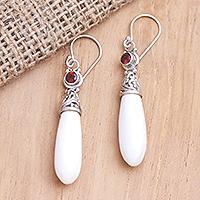 Garnet dangle earrings, 'Balinese Sling' - Handmade Garnet and Sterling Silver Dangle Earrings